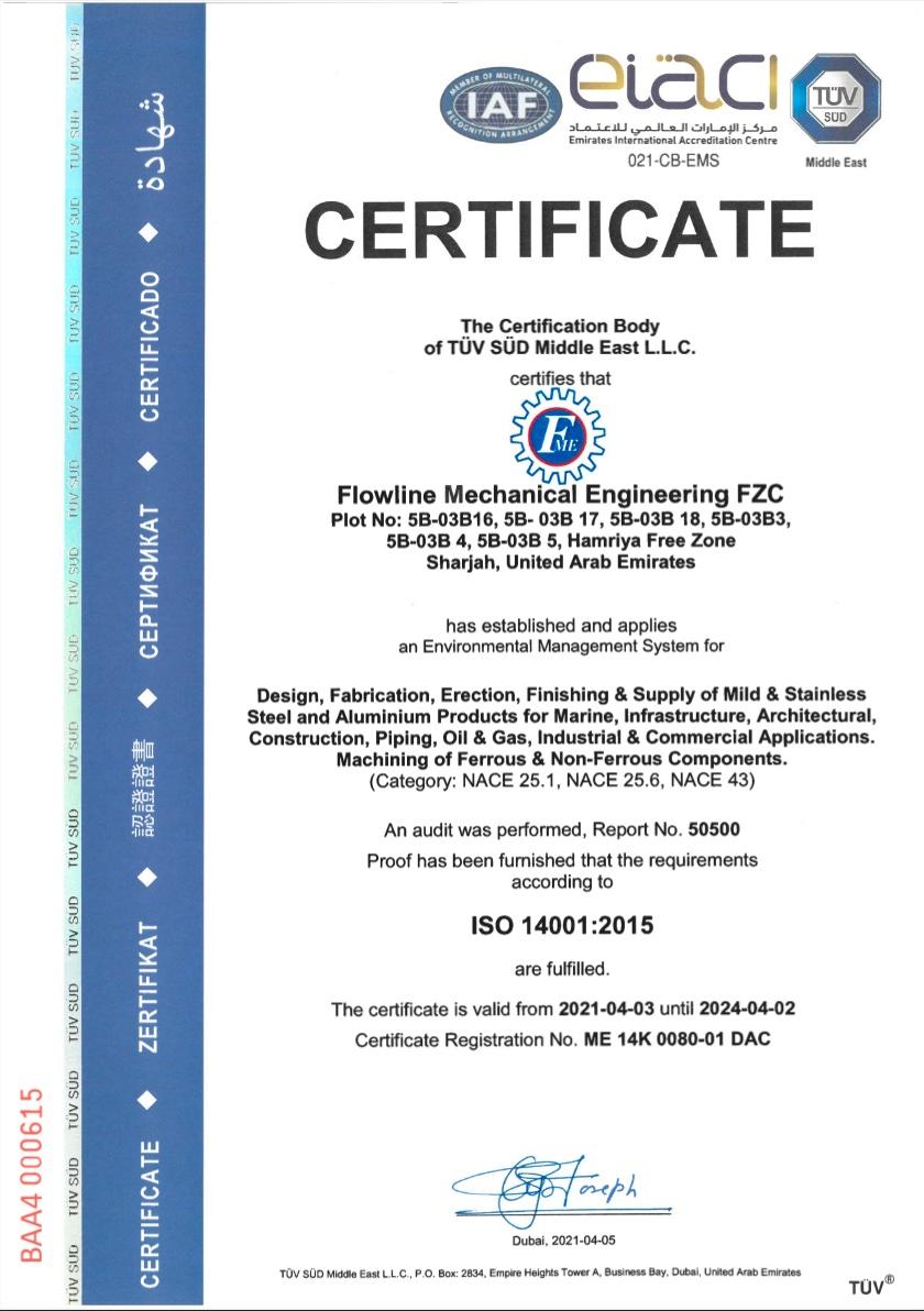 Certifications Flowline Mechanical Engineering